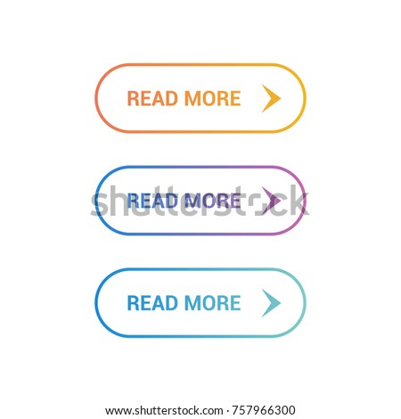Read More colorful button set on white background. Flat line gradient button collection. Vector linear web element #757966300