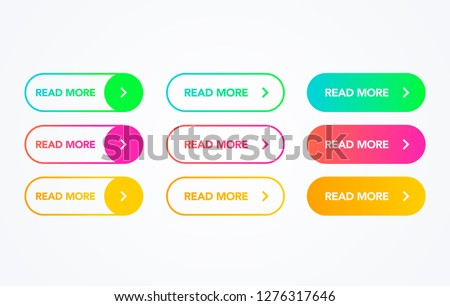 Read More colorful button set on white background. Flat line gradient button collection. Vector web element #1276317646