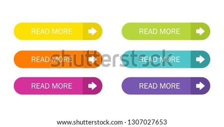 Read More colorful button set with icons Web Isolated on white background. Vector Illustration. #1307027653