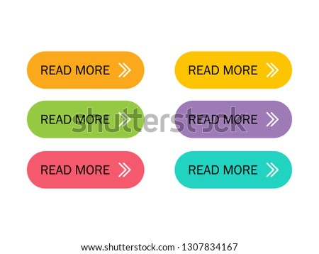 Read More colorful button set with icons Web Isolated on white background. Vector Illustration. #1307834167