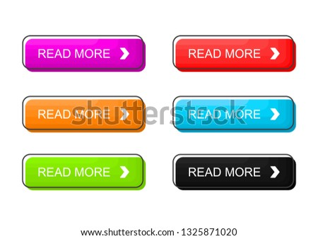 Read More colorful buttons set Isolated on white background. Vector Illustration. #1325871020