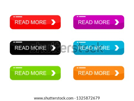Read More colorful buttons set Isolated on white background. Vector Illustration. #1325872679