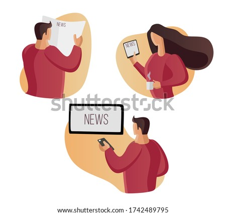Read news, watch news home. Watch TV, read a newspaper. Reading, watching, listening. Screen, display. Flat vector illustration set. tablet, phone. Hot news. Man reading news. Woman reading.
