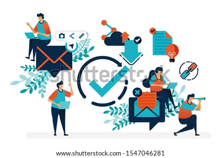 Read verified e-mail. Verify circle symbol to receive and reply messages.Simple tick symbol vector illustration for landing page, web, banner, template, background, mobile apps, ui, flyer, poster