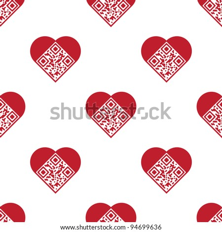 "Readable red artistic QR Code seamless pattern. Elements are in shape of heart with ""I Love You!"" text encoded."