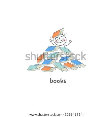 Reader of books. Illustration.