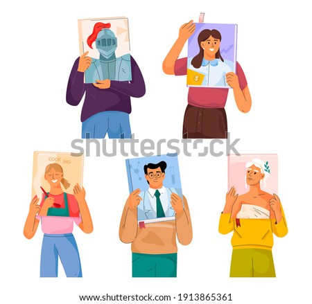 Readers read non fiction books. Men and women hold books with portraits of people on covers. Literature of different genres - history, finance, cooking, science, culture. Vector character illustration Photo stock ©