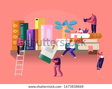 Reading and Education Concept with Tiny Male and Female Character on Shelf with Huge Books. People Read and Study, Students Prepare for Examination, Gaining Knowledges. Cartoon Vector Illustration