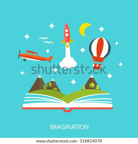 Reading book, imagination concept with stars, mountain landscape, trees, flying rocket, hot air balloon etc.
