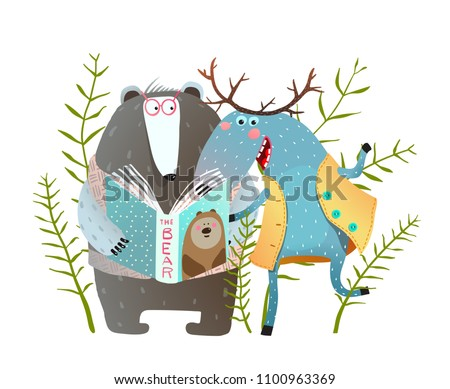 Reading Book Moose and Bear. Funny forest animals friends with book. Vector illustration.