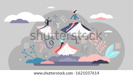 Reading books limitless fantasy journey concept, flat tiny persons vector illustration. Flying on book covers in abstract and creative literature world. Learning wisdom and exploring new horizons. Stockfoto ©