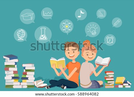 Reading books together.self-learning.