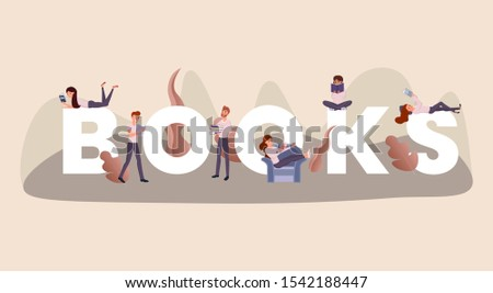 Reading books word concept banner. Intelligent young people enjoying novels cartoon characters. Bibliophiles and researchers hobby, students revising for exam with textbooks, intellectual pastime idea