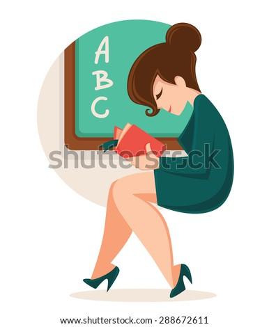reading cartoon teacher  vector