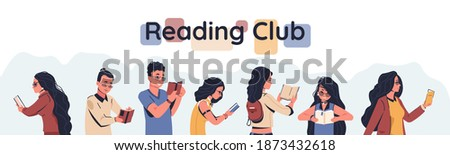 Reading club poster. Cartoon men and women holding open books, readers enjoying of stories. Cute horizontal banner with lettering. Modern people leisure pastime and education, vector flat illustration Photo stock ©