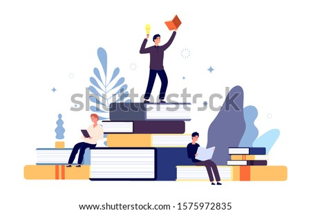 Reading concept. People read books, creative student have new idea from book. Interested man in learning literature, guys with textbooks vector illustration