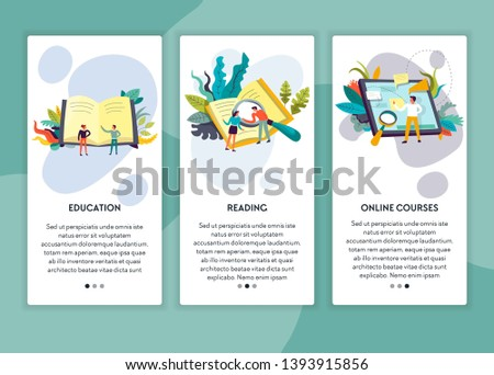 Reading education and online courses web page templates vector books and tablet distant learning and studying degree receiving knowledge school subjects textbook training and examination site mockup