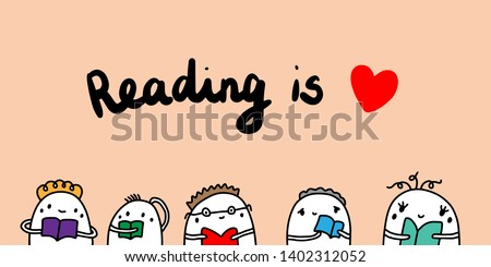 reading is love hand drawn