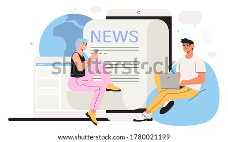 Reading latest or hot news online on smartphone or laptop. Modern business young men and women use news application on mobile phones and laptop. Flat design vector graphic style illustration.