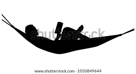 reading man on hammock