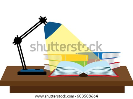 reading many books with lamp