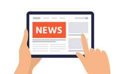 Reading news on a digital tablet. Tablet with newspaper, news site. Vector flat design elements for web banner, website, infographic.