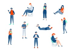 Reading people, education set concept. Collection of young people men and women teenagers reading books. Illustration of boys girls students, pupils read educational books, prepare for exam. Vector