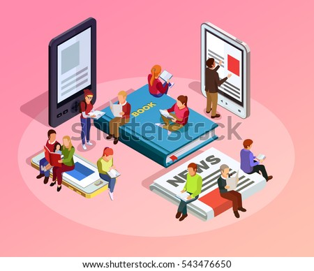 Reading people isometric composition women men and family sitting on books newspapers and read vector illustration