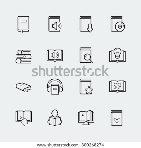 reading related vector icon set