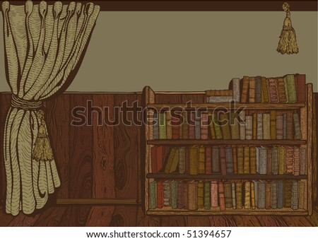 Reading room. Vintage drawing. Vector