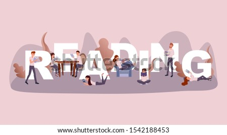 Reading time word concept banner. Couple enjoying new novel in cafe cartoon characters. Intellectual people hobby, students revising textbooks, adults relaxing with books, teenagers useful pastime