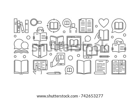 Reading vector linear illustration. Read a book concept banner in thin line style