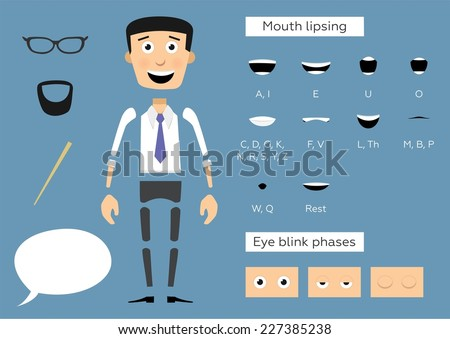 Ready to animation parts of character businessman. Include lips and eye phases.