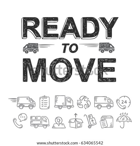 Ready to move relocation hand drawn icons