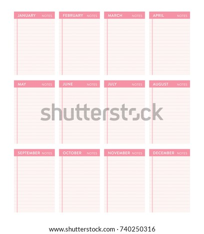 Ready To Print Monthly Yearly Calendar To Do List White Background Vector Icon Illustration Background #740250316