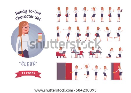 Ready-to-use character set. Female young clerk in formal wear. Different poses and emotions, running, standing, sitting, walking, happy, angry. Full length, front, rear view against white background