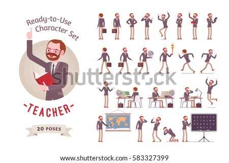 Ready-to-use character set. Male teacher in formal wear. Different poses and emotions, running, standing, sitting, walking, happy, angry. Full length, front, rear view against white background