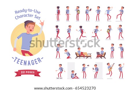 Ready-to-use character set. Teenager boy wearing cute beanie, casual slim fit. Various poses and emotions, running, standing, walking, working. Full length, front, rear view isolated, white background