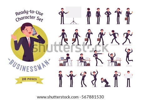 Ready-to-use character set. Young businessman in formal wear. Different poses and emotions, running, standing, sitting, walking, happy, angry. Full length, front, rear view against white background