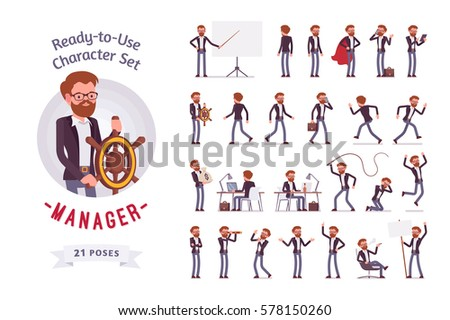 Ready-to-use character set. Young male manager in formal wear. Different poses and emotions, running, standing, sitting, walking, happy, angry. Full length, front, rear view against white background