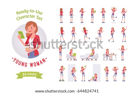Ready-to-use character set. Young woman, casual dressing, jeans shorts. Various poses and emotions, running, standing, walking, working. Full length, front, rear view isolated, white background