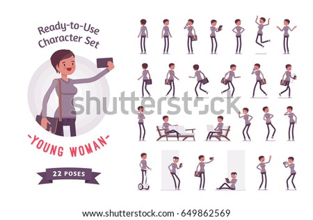 Ready-to-use character set. Young woman, casual, skinny jeans, messenger bag, Various poses and emotions, running, standing, walking, working. Full length, front, rear view, isolated, white background