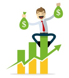 Ready to use website illustration or print illustration of Businessman happy, sitting on a bar chart, holding two bags of money