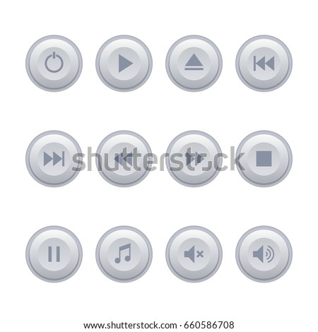 Real button, gray button, round button with icons