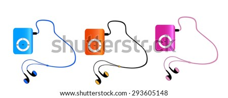 Real colored mp3 players with headphones isolated on white background. pink, orange, blue MP3-players. Vector illustration