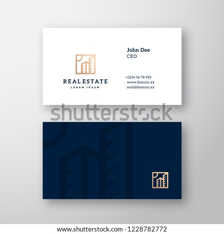 Real Estate Abstract Elegant Vector Logo and Business Card Template. Premium Stationary Realistic Mock Up. Modern Typography and Soft Shadows. Isolated.