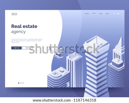 Real estate agency header for website. Homepage concept with isometric buildings. High-rise towers. Business center with skyscrapers. Isometric city vector illustration. Modern Landing page interface.