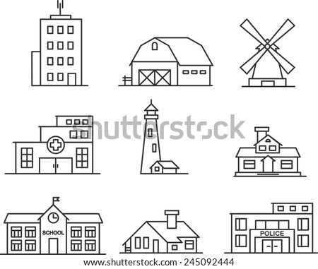 Real estate and government buildings icons in thin line style