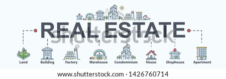 Real estate banner web icon for property and investment. Land, building, factory, warehouse, condominium, shophouse and apartment. Minimal vector infographic. Foto stock ©
