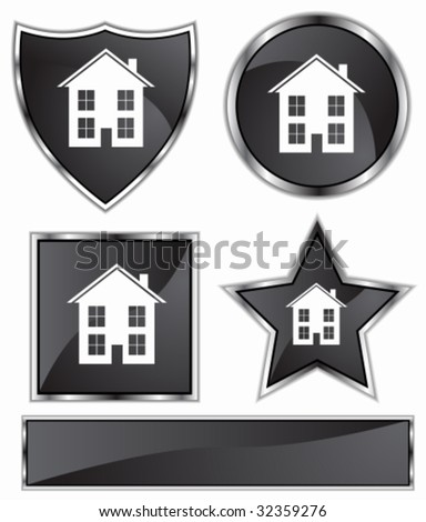 real estate black - stock vector